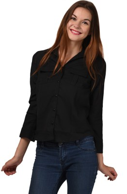 LA ATTIRE Women's Solid Casual Black Shirt
