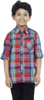 OKS Boys Boy's Checkered Casual Red Shirt