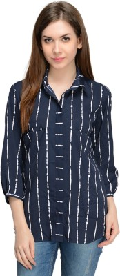 Nangalia Ruchira Women's Striped Casual Blue, White Shirt