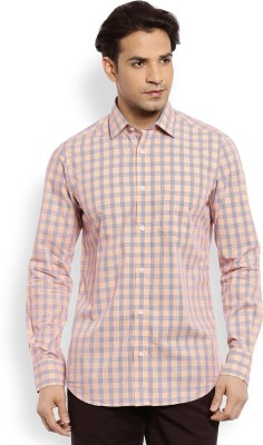 Color Plus Men's Checkered Casual Orange Shirt