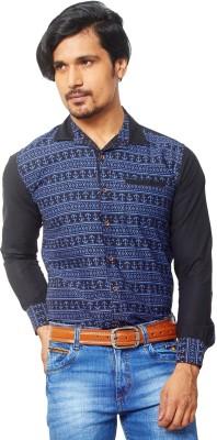 AFLASH Men's Printed Casual Dark Blue Shirt