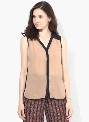 Popnetic Women's Solid Casual Brown Shirt