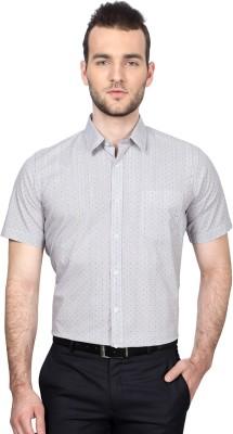 University of Oxford Men's Geometric Print Formal White Shirt