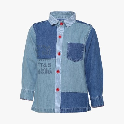 Tales & Stories Boy's Solid Casual Denim Blue Shirt