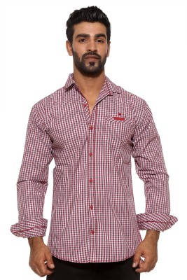 FIFTY TWO Men's Striped Casual Red Shirt