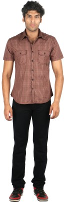 TomBerry Men's Checkered Casual Green Shirt