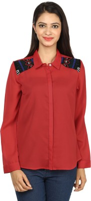 Charisma Women's Solid Party Red Shirt