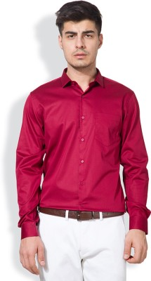Black Coffee Men's Solid Formal Maroon Shirt