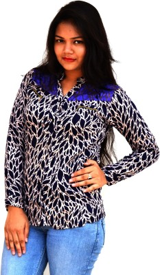 Aarti Collections Women's Printed Formal Blue, Black Shirt