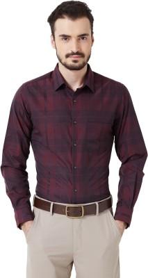 Peter England Men's Checkered Casual Maroon Shirt