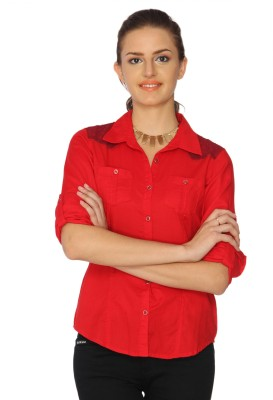 IDENTITI Women's Solid Casual Red Shirt