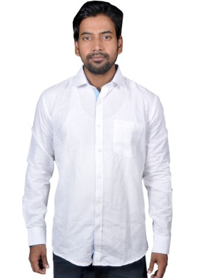 American Fox Men's Solid Casual Linen White Shirt