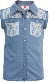 The Cranberry Club Girls Solid Casual Blue Shirt