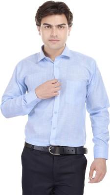 Kalrav Men's Solid Casual, Formal, Party Linen Light Blue Shirt