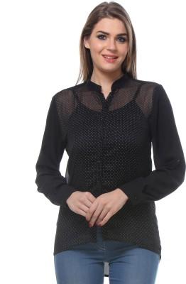 We Desi Women's Printed Formal Black Shirt