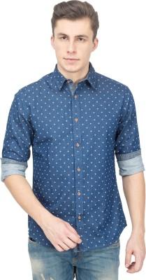 Blue Saint Men's Printed Casual Denim Blue Shirt