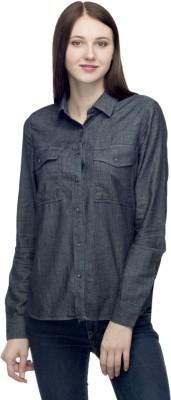 One Femme Women's Solid Casual Dark Blue Shirt