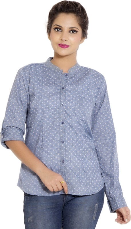 Goodwill Impex Women's Polka Print Casual Blue Shirt