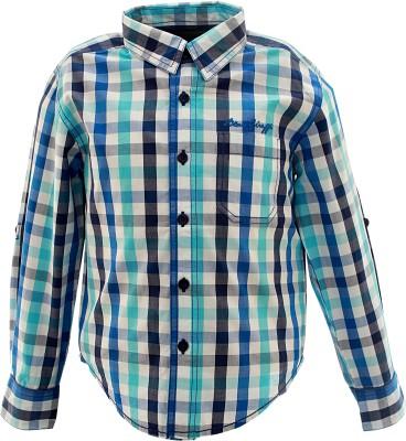 Blue Giraffe Boy's Checkered Casual Light Blue Shirt