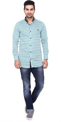Coloroid Men's Printed Casual Green, Light Green, Black, White Shirt