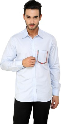 See Designs Men,s Solid Casual Reversible Light Blue Shirt