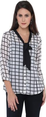Goddess Women Women's Checkered Casual White Shirt