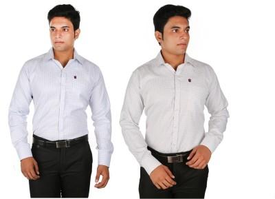 Relish Men's Checkered Formal White, Purple Shirt
