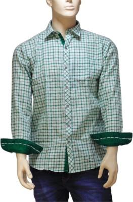 EXIN Fashion Men's Checkered Casual White, Green Shirt