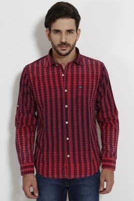 SIN Men's Checkered Casual Maroon Shirt