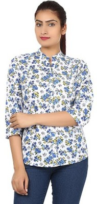 PINK SISLY Women's Solid Casual Blue Shirt