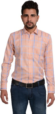Riwas Collection Men,s Checkered Formal Orange, Blue Shirt