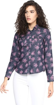 Yepme Women's Printed Casual Blue Shirt