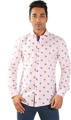 Just Differ Men's Self Design Casual Pink Shirt