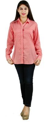 Lady Stark Women's Polka Print Casual Pink Shirt