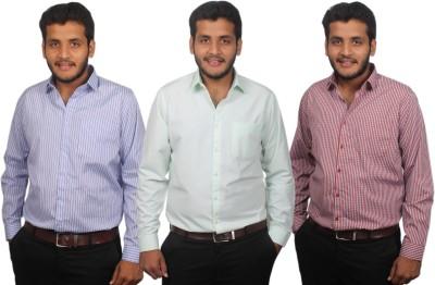 Maharaja Men's Checkered, Solid, Striped Formal Multicolor Shirt