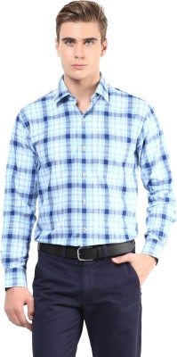 The Vanca Men's Checkered Formal Blue Shirt