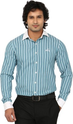 Blimey Men's Striped Formal Blue, White Shirt
