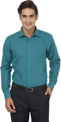 Jainish Men's Solid Formal Green Shirt