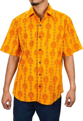 1800HomeLine Men's Floral Print Casual Yellow, Orange Shirt