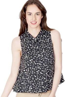 American Swan Women's Printed Casual Black Shirt