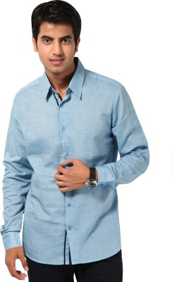 I Know Men's Solid Casual Blue Shirt