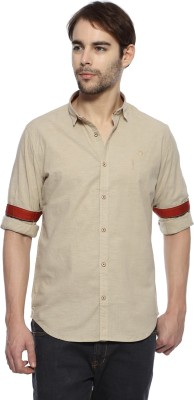 Derby Jeans Community Men's Solid Casual Beige Shirt