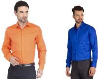 La Melodia Formal Shirts (Men's) - La Melodia Men's Solid Formal Orange, Blue Shirt(Pack of 2)