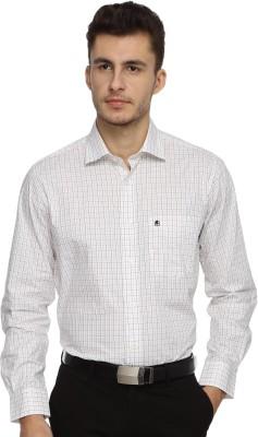 Balista Men,s Checkered Formal White Shirt