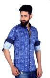 MOZAC Men's Printed Casual Blue Shirt