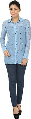 Kwardrobe Women's Printed Casual Blue Shirt
