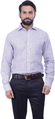 Alpha Centauri Men's Striped Casual Linen Multicolor Shirt