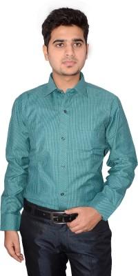 Indocity Men's Striped Formal Green, Grey Shirt