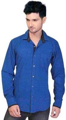 GoPlay Men's Striped Casual Blue Shirt