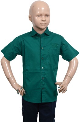 Puppet Nx Boy's Solid Casual Green Shirt